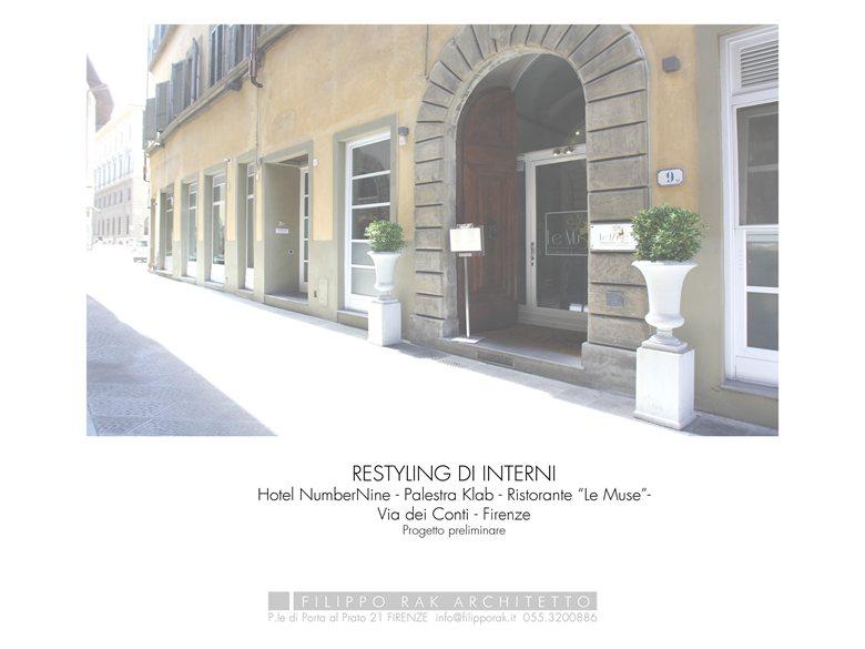 Progetto Preliminare per Restyling Ristorante Le Muse - Palestra Klab - Hotel Numbernine - Firenze 2017